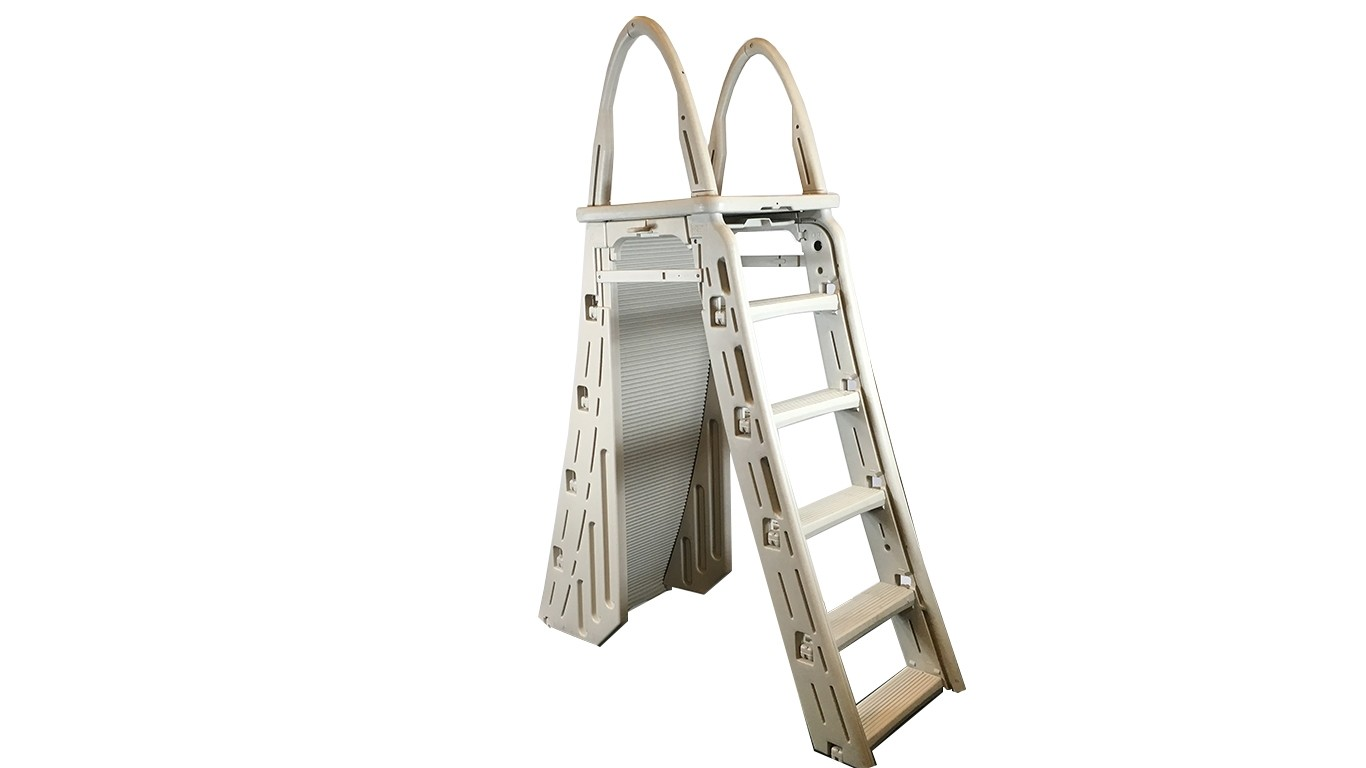 "7200 EXTRA HEAVY DUTY ABOVE GROUND POOL LADDER ROLL-GUARD 48""-54"" LADDER A-FRAME W/ BARRIER"